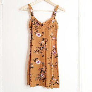 American Eagle mustard floral button corset dress